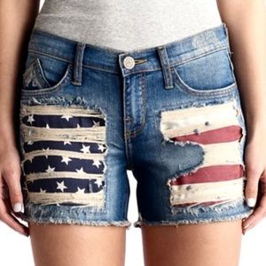 Rock & Republic Hula American flag jean shorts